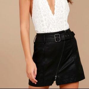 Free People Black Faux Leather Mini Skirt Size 2